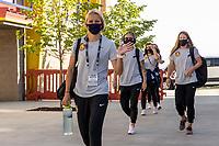 HERRIMAN, UT - JULY 8: Utah Royals FC Arrive at the field during a game between OL Reign and Utah Royals FC at Zions Bank Stadium on July 8, 2020 in Herriman, Utah.