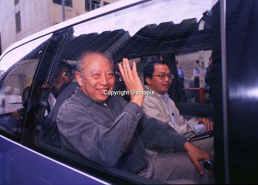 "290897: HONG KONG: TUNG CHEE HWA<br /> <br /> TUNG CHEE HWA, WAVES FROM HIS CAR AFTER A ""MEET AND GREET"" THE PEOPLE.<br /> <br /> PHTO BY FREDERIC BROWN / SINOPIX"