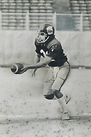 1977 FILE PHOTO - ARCHIVES -<br /> <br /> On Target: Toronto Argonaut quarterback Clint Longley has been sharp in drills leading to Argos' next match, Sunday against the first-place Montreal Alouettes. Longley has been aided in his quest for No. 1 job by Chuck Ealey.<br /> <br /> <br /> Bezant, Graham<br /> Picture, 1977<br /> <br /> 1977<br /> <br /> PHOTO : Graham Bezant - Toronto Star Archives - AQP