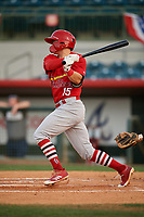 Palm Beach Cardinals second baseman Andy Young (15) follows through on a swing during a game against the Florida Fire Frogs on May 1, 2018 at Osceola County Stadium in Kissimmee, Florida.  Florida defeated Palm Beach 3-2.  (Mike Janes/Four Seam Images)