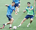 Real Madrid's Cristiano Ronaldo (l) and Alvaro Arbeloa during Champions League 2015/2016 training session. May 27,2016. (ALTERPHOTOS/Acero)