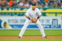 Detroit Tigers third baseman Miguel Cabrera (24) on defense against the Los Angeles Angels at Comerica Park on June 25, 2013 in Detroit, Michigan.  The Angels defeated the Tigers 14-8.  (Brian Westerholt/Four Seam Images)