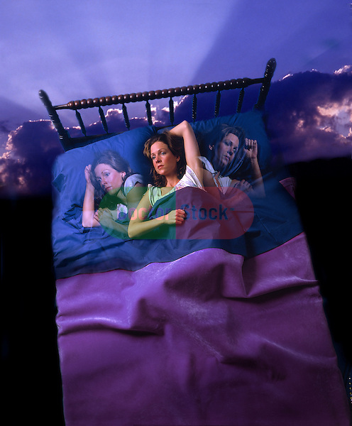 photo-illustration of woman tossing and turning in bed, wide awake with insomnia