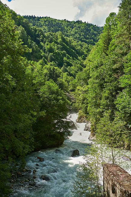 River Enguri valley in th Caucasus mountains, Upper Svaneti, Georgia (country)