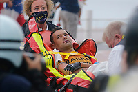 29th August 2020, Nice, France;  VALLS FERRI Rafael (ESP) of BAHRAIN - MCLAREN taken off injured during stage 1 of the 107th edition of the 2020 Tour de France cycling race, a stage of 156 kms with start in Nice Moyen Pays and finish in Nice
