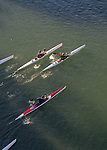 Open water race, high performance kayaks; aerial, Sound Rowers Open Water Rowing and Paddling Club, La Conner, Swinomish Channel, Washington State, Pacific Northwest,  USA,