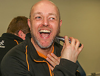 SCF2016 - RBAI vs Campbell College | Thursday 17th March 2016<br /> <br /> RBAI physic Gavin Noble shaves off his beard after the Ulster Schools Cup Final between RBAI and Campbell College at Kingspan Stadium, Ravenhill Park, Belfast, Northern Ireland. Photo credit: John Dickson / DICKSONDIGITAL