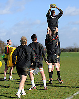 20130131 Copyright onEdition 2013©.Free for editorial use image, please credit: onEdition..Maro Itoje of Saracens practises the lineout drills during the Saracens Captains Run at Old Albanians Rugby Club, St Albans on Thursday 31st January 2013 (Photo by Rob Munro)..For press contacts contact: Sam Feasey at brandRapport on M: +44 (0)7717 757114 E: SFeasey@brand-rapport.com..If you require a higher resolution image or you have any other onEdition photographic enquiries, please contact onEdition on 0845 900 2 900 or email info@onEdition.com.This image is copyright onEdition 2013©..This image has been supplied by onEdition and must be credited onEdition. The author is asserting his full Moral rights in relation to the publication of this image. Rights for onward transmission of any image or file is not granted or implied. Changing or deleting Copyright information is illegal as specified in the Copyright, Design and Patents Act 1988. If you are in any way unsure of your right to publish this image please contact onEdition on 0845 900 2 900 or email info@onEdition.com