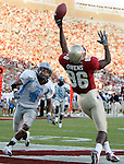 Florida State wide receiver Rod Owens (86)  can't quite hand on to a one-handed catch in the endzone as the Citadel's cornerback Vincent Hill (4) watches at Bobby Bowden Field in Tallahassee, Florida September 10, 2005. (Mark Wallheiser/TallahasseeStock.com)