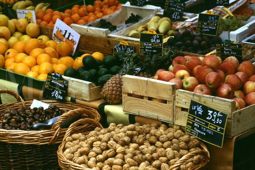 Crates and baskets of fresh fruit and vegetables, Provence, France