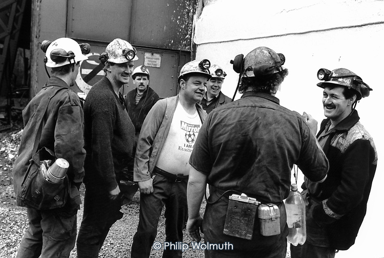 Some of the last miners to go down Deep Navigation pit, in the village of Treharris, South Wales, on the day it closed.