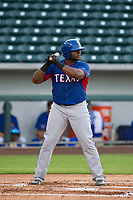 AZL Rangers first baseman Tyreque Reed (5) at bat against the AZL Cubs on July 24, 2017 at Sloan Park in Mesa, Arizona. AZL Cubs defeated the AZL Rangers 2-1. (Zachary Lucy/Four Seam Images)