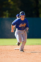 Jake Crawford (5) of Belton-Honea Path High School in Honea Path, South Carolina playing for the New York Mets scout team at the South Atlantic Border Battle at Doak Field on November 2, 2014.  (Brian Westerholt/Four Seam Images)