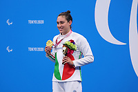 25th August 2021; Tokyo, Japan; Gold medalist GILLI Carlotta (ITA), and bronze medalist celebrates on the podium for the Swimming : Women's 100m Butterfly - S13 Final - Medal Ceremony on August 25, 2021 during the Tokyo 2020 Paralympic Games at the Tokyo Aquatics Centre in Tokyo, Japan.