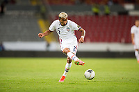 GUADALAJARA, MEXICO - MARCH 24: Julian Araujo #2 of the United States passes off the ball during a game between Mexico and USMNT U-23 at Estadio Jalisco on March 24, 2021 in Guadalajara, Mexico.