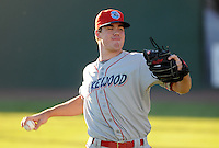 Starting RHP Trevor May (37) of the Lakewood BlueClaws warms up before a game against the Greenville Drive in Game 1 of the South Atlantic League Championship Series on Sept. 13, 2010, at Fluor Field at the West End in Greenville, S.C. Photo by: Tom Priddy/Four Seam Images