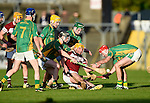 Niall De Loughery of St Joseph's Doora Barefield in action against Shane Taylor, Diarmuid O Brien, Stiofan Mc Mahon and Craig Chaplin of Broadford during their Intermediate county final in Cusack Park. Photograph by John Kelly.