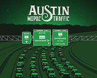 This fine art print celebrates Austin's most infamous transportation highway, Loop 1 Mopac and its never ending traffic and the Mopac Express Lane.<br /> <br /> Mopac Loop 1 is a freeway which provides access to the west side of Austin, Texas. It is named Mopac Expressway after the Missouri Pacific Railroad.<br /> <br /> The MoPac Express Lane gives drivers the option to bypass congestion on the 11-mile stretch of MoPac between Parmer Lane and Cesar Chavez Street and get to their destination without delay. MoPac is one of Austin's most important arteries, serving as a key route to downtown and points beyond. As a primary alternative to Interstate 35, MoPac carries more than 180,000 cars and trucks each day. By 2035, MoPac is projected to serve more than 220,000 cars a day. In October 2017, the project was fully open to traffic.