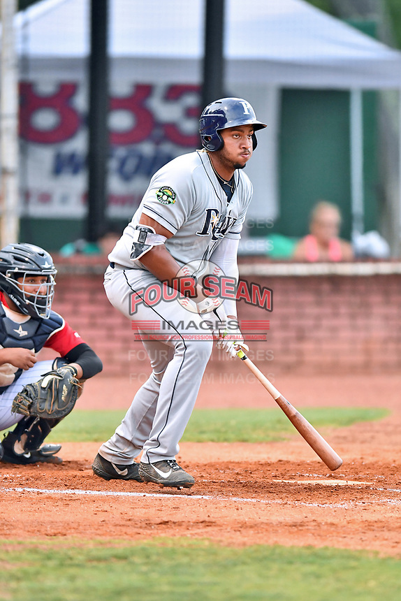 Princeton Rays first baseman Vincent Byrd (24) swings at a pitch during game two of the Appalachian League Championship Series against the Elizabethton Twins at Joe O'Brien Field on September 5, 2018 in Elizabethton, Tennessee. The Twins defeated the Rays 2-1 to win the Appalachian League Championship. (Tony Farlow/Four Seam Images)