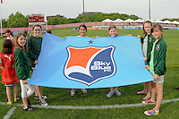 Sky Blue flag kids. FC Gold Pride defeated Sky Blue FC 1-0 during a Women's Professional Soccer (WPS) match at Yurcak Field in Piscataway, NJ, on May 1, 2010.