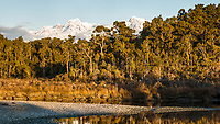 Gillespies Lagoon and coastal native forest with Southern Alps in background, Westland Tai Poutini National Park, West Coast, New Zealand, NZ