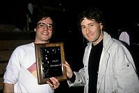 Pierre Marchand, Musique Plus(a droite), Mai 1986<br /> <br /> PHOTO :   agence Quebec Presse - Pierre Roussel