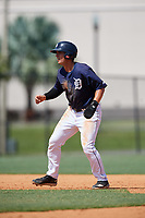 GCL Tigers East designated hitter Daniel Reyes (24) leads off second base during a game against the GCL Tigers West on August 8, 2018 at Tigertown in Lakeland, Florida.  GCL Tigers East defeated GCL Tigers West 3-1.  (Mike Janes/Four Seam Images)