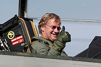 Head of the airline Norwegian , Bjørn Kjos, arrives as passenger on the Swedish fighter jet JAS Gripen.  The announcement that the airline has chosen to fly from Rygge Airport was made as a large airshow was being prepared for the weekend. The Gripen is one of the aircraft being considered to replace Norway's ageing F-16 Fighters. Norway Bjørn Kjos
