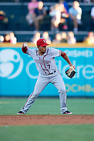 Syracuse Chiefs second baseman Adrian Sanchez (7) throws to first base for the out during a game against the Buffalo Bisons on July 6, 2018 at Coca-Cola Field in Buffalo, New York.  Buffalo defeated Syracuse 6-4.  (Mike Janes/Four Seam Images)