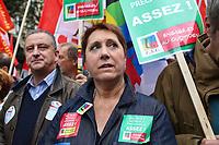 BERNADETTE GROISON (SECRETAIRE GENERAL DE LA FSU) - MANIFESTATION DES FONCTIONNAIRES A PARIS, FRANCE, LE 10/10/2017.