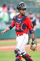 Carlos Corporan (22) during the MiLB matchup between the Memphis Redbirds and the Oklahoma City Redhawks at Chickasaw Bricktown Ballpark on April 8th, 2012 in Oklahoma City, Oklahoma. The Redhawks defeated the Redbirds 8-1  (William Purnell/Four Seam Images)