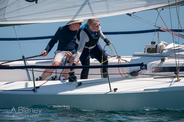 A busy ship is a happy ship – Robert Dix and Carla Fagan racing Jeannie to third place in the J/80s. Photo: Annraoi Blaney