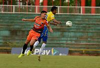 VILLAVICENCIO - COLOMBIA, 14-04-2021: Llaneros F. C. y Real Cartagena durante partido de la fase 2 Ida por la Copa BetPlay DIMAYOR 2021 en el estadio Bello Horizonte en la ciudad de Villavicencio. / Llaneros F. C. and Real Cartagena during a match of the phase 2 first leg for the BetPlay DIMAYOR 2021 Cup at the Bello Horizonte stadium in Villavicencio city. / Photo: VizzorImage / Juan Herrera / Cont.