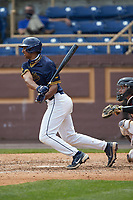 Justin Rodriguez (30) of the North Carolina A&T Aggies at bat against the North Carolina Central Eagles at Durham Athletic Park on April 10, 2021 in Durham, North Carolina. (Brian Westerholt/Four Seam Images)