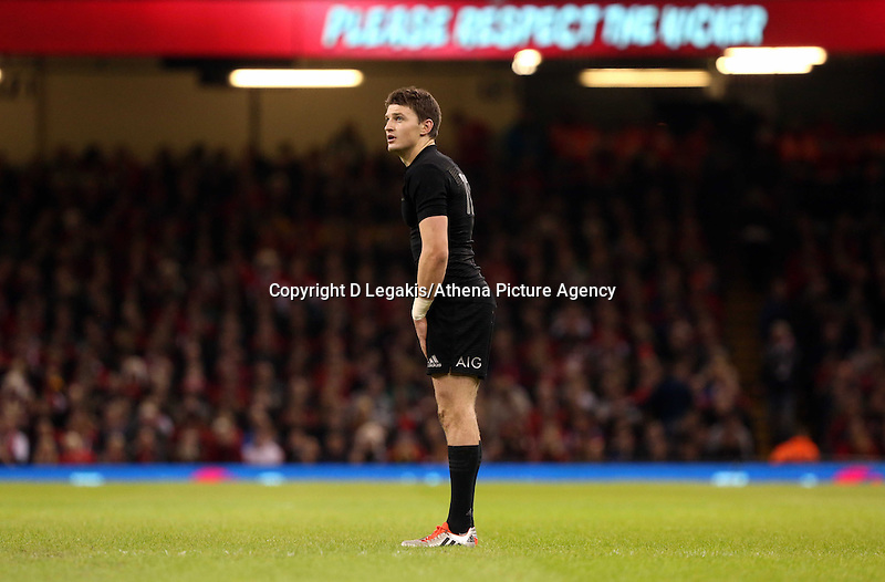 Pictured: Beauden Barrett of New Zealand takes a penalty kick Saturday 22 November 2014<br /> Re: Dove Men Series 2014 rugby, Wales v New Zealand at the Millennium Stadium, Cardiff, south Wales, UK.