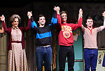 """Mercedes Ruehl, Michael Urie, Ward Horton, Jack DiFalco during the Broadway Opening Night Curtain Call for """"Torch Song"""" at the Hayes Theater on November 1, 2018 in New York City."""