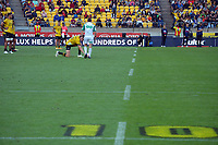 Hurricanes' Jordie Barrett lines up a long-range penalty near the end of regulation time during the Super Rugby Aotearoa match between the Hurricanes and Crusaders at Sky Stadium in Wellington, New Zealand on Sunday, 11 April 2020. Photo: Dave Lintott / lintottphoto.co.nz
