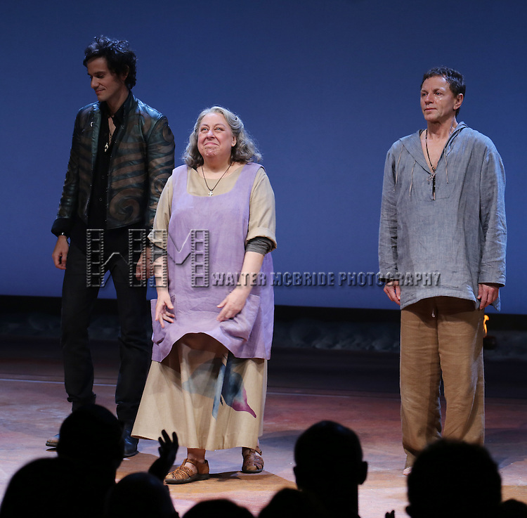 Christian Camargo, Jayne Houdyshell and Brent Carver during the Broadway Opening Night Performance Curtain Call for 'Romeo and Juliet' at the Richard Rodgers Theatre in New York City on September 19, 2013.