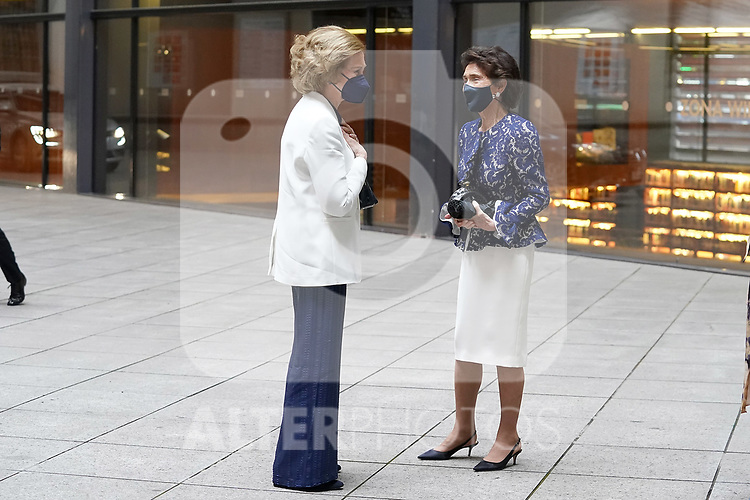 Queen Sofia of Spain (l) arrives at the closing ceremony and end-of-year concert of the Reina Sofia School of Music with Paloma O'Shea, Marchioness of O'Shea, pianist and President of the Reina Sofia School of Music and widow of the banker Emilio Botín. June 22, 2021. (ALTERPHOTOS/Acero)
