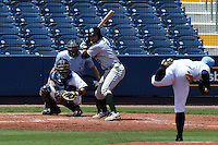 Daytona Tortugas shortstop Alex Blandino (5) waits for a pitch from Blake Snell (11) in front of catcher Armando Araiza (19) and umpire Alex Mackay during a game against the Charlotte Stone Crabs on April 14, 2015 at Charlotte Sports Park in Port Charlotte, Florida.  Charlotte defeated Daytona 2-0.  (Mike Janes/Four Seam Images)
