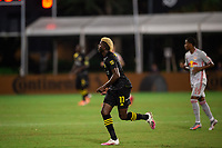 LAKE BUENA VISTA, FL - JULY 16: Gyasi Zardes #11 of the Columbus Crew SC runs towards the ball during a game between New York Red Bulls and Columbus Crew at Wide World of Sports on July 16, 2020 in Lake Buena Vista, Florida.