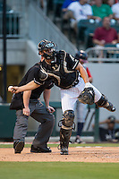 Charlotte Knights catcher Rob Brantly (20) on defense against the Gwinnett Braves at BB&T BallPark on August 11, 2015 in Charlotte, North Carolina.  The Knights defeated the Braves 3-2.  (Brian Westerholt/Four Seam Images)