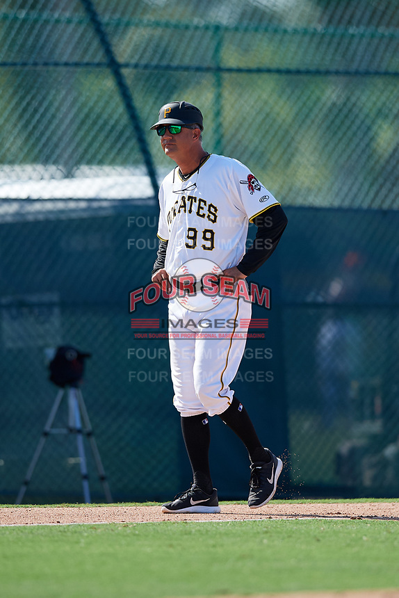 GCL Pirates manager Dave Turgeon (99) during a game against the GCL Yankees West on August 2, 2018 at Pirate City Complex in Bradenton, Florida.  GCL Pirates defeated GCL Yankees West 6-2.  (Mike Janes/Four Seam Images)