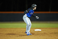 Anthony Palma (2) of the Lake Norman Wildcats takes his lead off of second base against the Davie War Eagles at Davie County High School on March 7, 2018 in Mocksville, North Carolina.  The Wildcats defeated the War Eagles 12-0.  (Brian Westerholt/Four Seam Images)