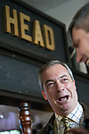 © Joel Goodman - 07973 332324 . 20/11/2014 . Kent , UK . ) . UKIP Party leader , NIGEL FARAGE , at The Nags Head pub in Lower Stoke . The Rochester and Strood by-election campaign following the defection of sitting MP Mark Reckless from Conservative to UKIP . Photo credit : Joel Goodman