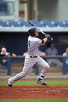 Tampa Yankees shortstop Angel Aguilar (14) follows through on a swing during the first game of a doubleheader against the Charlotte Stone Crabs on July 18, 2017 at Charlotte Sports Park in Port Charlotte, Florida.  Charlotte defeated Tampa 7-0 in a game that was originally started on June 29th but called to inclement weather.  (Mike Janes/Four Seam Images)