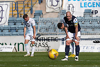 24th April 2021; Dens Park, Dundee, Scotland; Scottish Championship Football, Dundee FC versus Raith Rovers; Charlie Adam of Dundee shows his relief after Dundee beat Raith Rovers