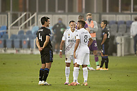 SAN JOSE, CA - SEPTEMBER 13: Javier Hernandez #14 of the Los Angeles Galaxy talks with Jonathan dos Santos #8 of the Los Angeles Galaxy and Oswaldo Alanis #4 of the San Jose Earthquakes after a game between Los Angeles Galaxy and San Jose Earthquakes at Earthquakes Stadium on September 13, 2020 in San Jose, California.