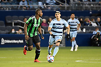 KANSAS CITY, KS - MAY 9: Jhohan Romana #3 Austin FC with the ball during a game between Austin FC and Sporting Kansas City at Children's Mercy Park on May 9, 2021 in Kansas City, Kansas.