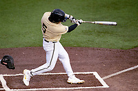Vanderbilt Commodores catcher C.J. Rodriguez (5) belts a home run against the Tennessee Volunteers on Robert M. Lindsay Field at Lindsey Nelson Stadium on April 17, 2021, in Knoxville, Tennessee. (Danny Parker/Four Seam Images)